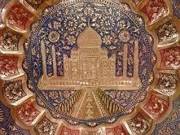 vintage wall décor plate taj mahal india ornate dish brass