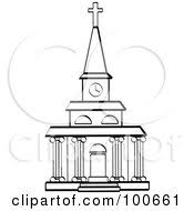 Coloring Page Outline Of A Church Facade With Clock Tower And Columns