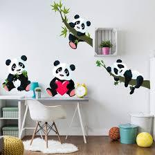 stickers panda chambre bébé quatre petits pandas pour la chambre d enfant deco chambre bébé