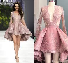 high low blush pink short cocktail dresses sheer long sleeves prom