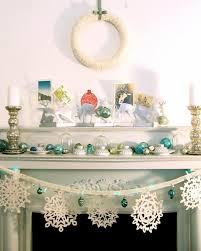 Decorations Fireplace Mantel White Christmas Decoration Come With Fabrics Wrapping Above Wreath And