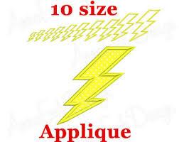 Lightning Bolt Applique Embroidery Design Machine Super Hero Flash