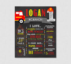 100 Fire Truck Song First Birthday Chalkboard Printable Truck First Birthday
