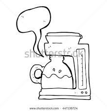Freehand Drawn Speech Bubble Cartoon Coffee Filter Machine