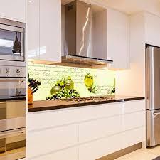 wandmotiv24 küchenrückwand oliven öl schrift grün flasche