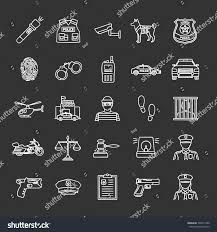Police Chalk Icons Set Law Enforcement Stock Vector (Royalty Free ...