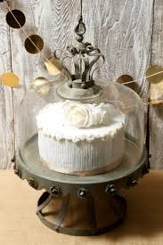 Dome Covered Zinc Rustic Cake Stand In Glass White Ce Full Size