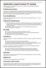 Application Support Analyst Cv Sample Myperfectcv Rh Co Uk Sales Administrator CV Example Resume