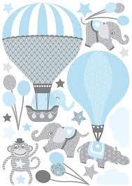 wand wandsticker air balloons hellblau grau
