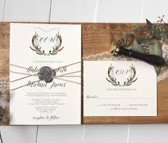Beautiful Rustic Antler Crest Wedding Invitation Adorned With Twine And Wax Seal The