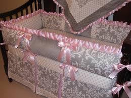 Pink Crib Bedding by Gray And Pink Crib Bedding Set 2399
