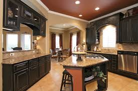 Dark Wood Cabinet Kitchens Colors Maroon Ceiling With Beige Wall Color For Glamorous Kitchen
