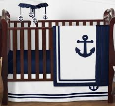 Sweet Jojo Designs Crib Bedding by Sweet Jojo Azul Marino Náutica Barco Ancla Bumperless Bebé Niño