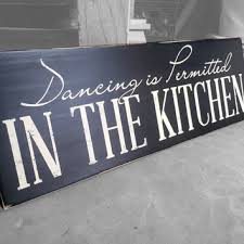 Home Living Decor Dancing In The Kitchen Is Permitted Wood Sign Wall
