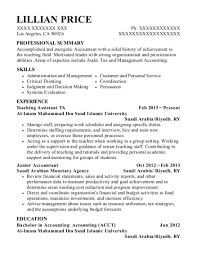 Best Teaching Assistant Ta Resumes