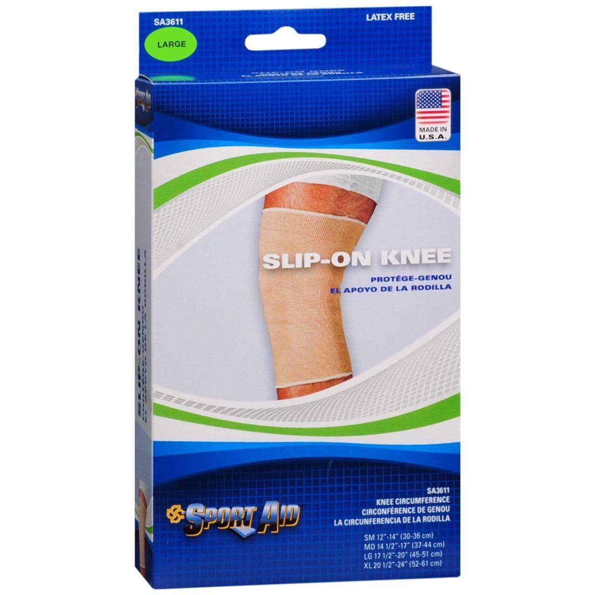Sport Aid Slip-On Knee Wrap - Beige, Large