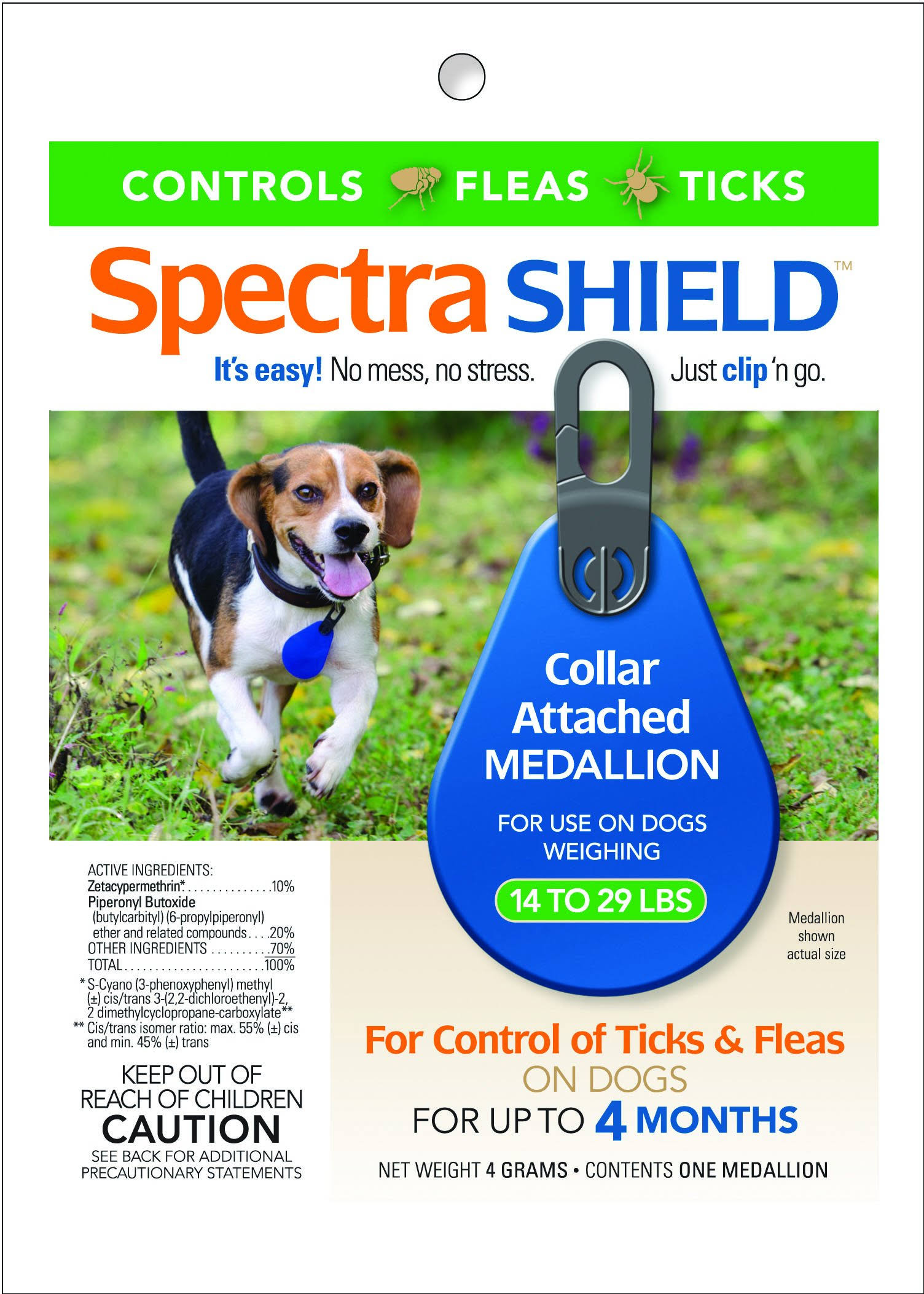 Spectra Shield Flea and Tick Collar Attach Medallion for Dogs - 14 to 29lbs