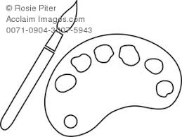Clipart Coloring Page Of A Paintbrush And Pallet