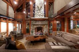 Large Rustic Living Room With Comfy Decor And Natural Edge Coffee Table Design Decorative