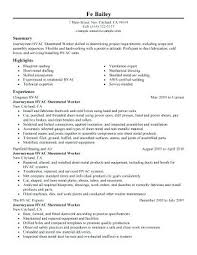Hvac Installer Resume Samples Job Description For Sample Heating And Air Refrigeration Mechanic Supervisor Skills