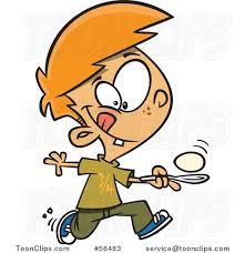 Cartoon Red Haired White Boy Running in an Egg Race by Ron Leishman