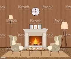 gemütliches wohnzimmer interieur mit kamin sessel uhr len und fotorahmen wohnraumgestaltung stock vektor und mehr bilder behaglich