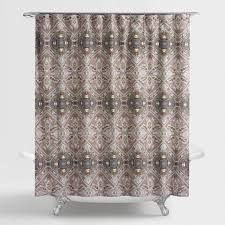 Lilac and Taupe Medallion Donatella Shower Curtain