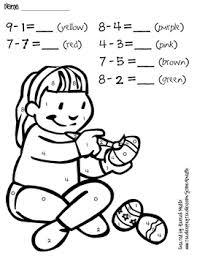 Addition Coloring Worksheets Kindergarten Math