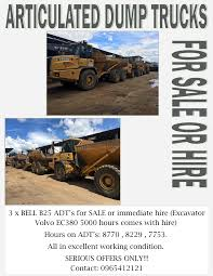 100 Construction Trucks For Sale 28022017 ARTICULATED DUMP TRUCKS FOR SALE OR HIRE Addicts Ads