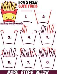 How to Draw Cute Kawaii French Fries with Face on It Easy Step by Step Drawing Tutorial for Kids How to Draw Kawaii Pinterest