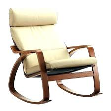 Poang Rocking Chair Leather Cushion Brown With Robust Off White Medium