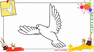 How to draw a dove flying EASY & SLOWLY step by step for kids beginners