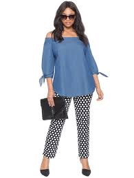 chambray off the shoulder tunic top women u0027s plus size tops eloquii