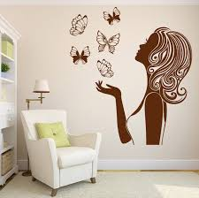 New Design Butterflies Sexy Girl Silhouette Inspired Beauty Wall Sticker For Girls Room Decal Home Decor