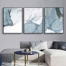 abstrakte marmor leinwand drucken gemälde licht blau poster