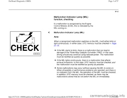 Malfunction Indicator Lamp Honda by Check Engine Audi A4 1996 B5 1 G Aeb Engine Obd And Dtc