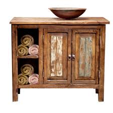 Unfinished Rustic Bathroom Vanities With Double Doors And Towels Also Four Wooden Legs