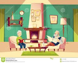 vector alten mann und frau der karikatur im wohnzimmer