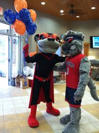 WebstUR poses with Nutzy of the Richmond Flying Squirrels at