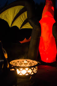 Halloween Yard Inflatables 2015 by A Fire Themed Halloween Porch With A Dragon Yard Inflatable The