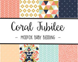 Coral And Navy Baby Bedding by Crib Bedding Etsy