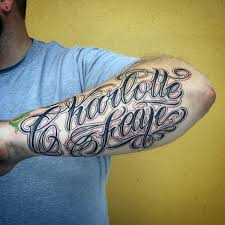 Script Name Charlotte Mens Outer Forearm Tattoos