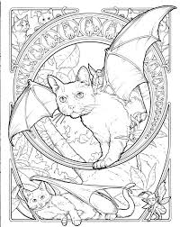 Fantasy Cat Coloring Page Printable Halloween Black Pages Hello Kitty Sheets