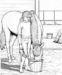 This Coloring Page For Kids Features A Young Girl Feeding Horse From Bucket
