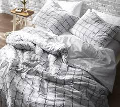 Frayed Edgings King Oversized Duvet Cover White and Gray