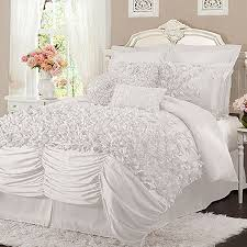 4 piece ruched forter set with hand sewn bow details Product Queen 1 forter 1 bed skirt and 2 standard