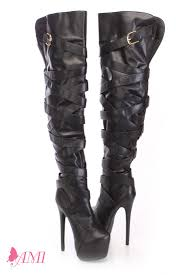 black wrap around strap thigh high boots faux leather