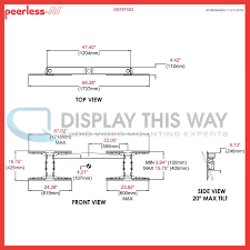 peerless dst970x2 dual ceiling mount with independent swivel for