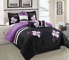 amazon com purple black and white comforter set floral bed in a