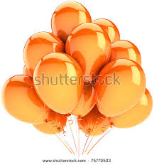Balloons Party Birthday Decoration Orange Yellow Sunny Holiday Celebration Anniversary Graduation Retirement Concept Happy